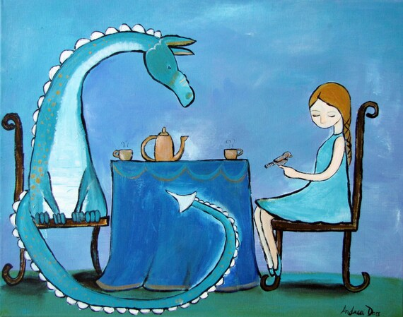 Dragon and Princess Painting, Little Girls Room Decor, Storybook Style Original Art, Fairy Tale