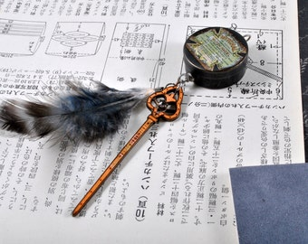 CLEARANCE - Witchal - Art Pendant with small round box, feather, and vintage brooch.