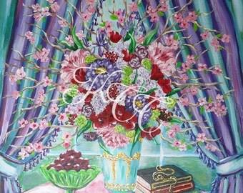 "Original Acrylic Painting- ""Bohemian Bouquet"" 20"" x 20"""
