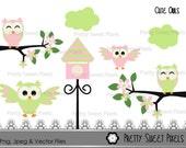 Cute Owls  #3-  Girl Vector graphics, clipart, digital clip art, digital images, instant download. PSPCAP-025