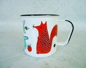 Vintage Finel Fox and Mouse Animal Enamel Cup - Vintage Finel Arabia Childs Enamelware Mug