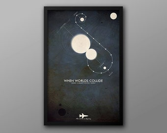 When Worlds Collide, Cult Scifi Movie Poster // Solar System, Planets, Stars, Rocket, and Collision Illustration