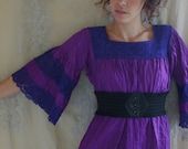 HALF OFF Vintage Jewel Purple Mexican Cotton Dress... Size Medium... boho hippie frida ethnic tribal gypsy indie free people