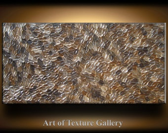 Abstract Texture Painting 48 x 24 Original Modern Brown Beige Champagne Coffee Metallic Knife Sculpture Impasto Oil by Je Hlobik