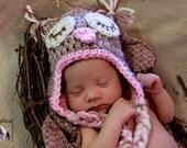 Owl, Owlette Baby Hat, Crochet Owl Hat, Sleeping Crochet Owl Hat