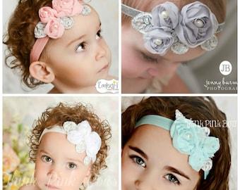 CHOOSE COLOR Baby headbands,White baby headband, Pink Baby headband,Newborn Headband, Baby girl Headband, Christenig headband, Baby Bows.