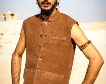 Thick cotton men vest with collar ~