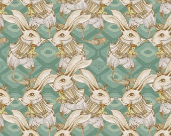 Bunny Rabbit in Teal - RIDDLES & RHYMES (pwtg157)  - Tina Givens - Free Spirit Fabric  - By the Yard