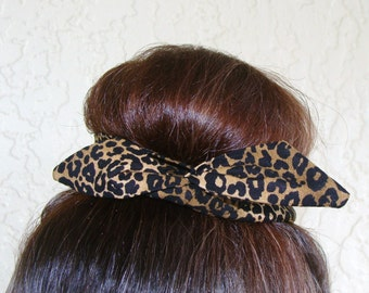 "Wire Bun Wrap, Top Knot Wire Wrap Cougar Print ""Mini"" Dolly Bow Wire Ponytail Hair tie Hair Bun Tie Wrap"