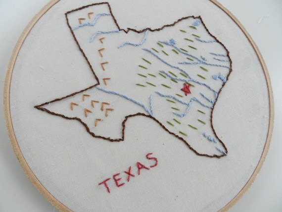 Texas State Map Art. Hand Embroidery. Hoop Art. Home State Art. State Outline Map Decor. Graduation Gift. Home State. Mother's Day Gift.