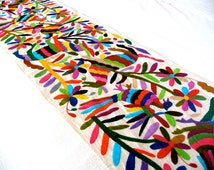 5 pcs Multicolored Runner Table Otomi Tenango Embroidery Design (MADE TO ORDER)