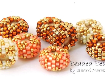 Beaded Beads - spacer bead pairs - peach topaz gold ivory