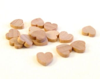 25 Little Wooden Hearts - 1/2 Inch