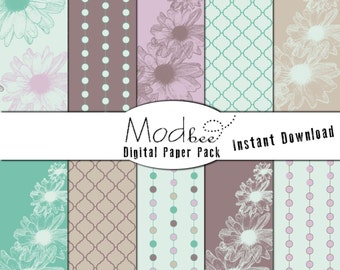 """Digital Paper 10 PACK - Mod Floral and Geometric Aqua, Teal, Light Lavender, Purple and Grey (300 dpi) -- 10 designs - 12"""" by 12"""" (112)"""