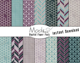 """Digital Paper 14 PACK - Geometric Textured Amethyst, Lavender, Teal and Warm Grey (300 dpi) -- 14 designs - 12"""" by 12"""" (093)"""