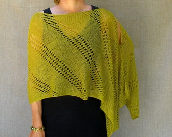 Linen Knit Shawl Wrap Poncho Scarf in Chartreuse