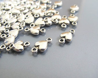 heart shape connector, silver color heart link , jewerly making supplies, 20 pieces