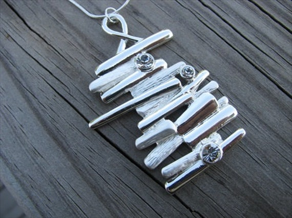 Elegant, Modern Silver Necklace- stacked rectangles- with crystal rhinestones- Unique Necklace