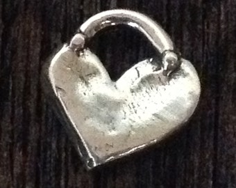 1 Rustic Artisan Heart Charm - Chunky with Dotted Bail 12.25mm tall - approx 3mm top ID  AC156