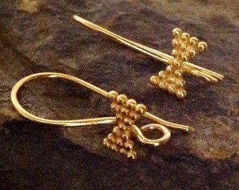 Vermeil Ear Wires with Bow Tie Accents  - 2 Pair   E212a