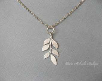 Silver Leaf Necklace, Silver Necklace