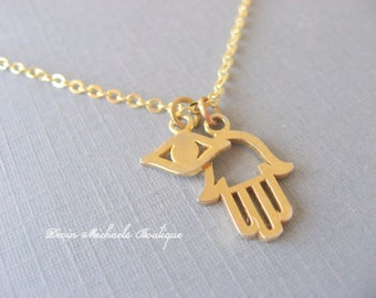 Hamsa Necklace with Evil Eye Pendant, Gold Necklace, Minimalist Jewelry