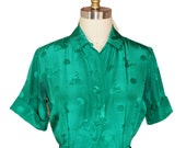 1960s Vintage Emerald Green  Silk Party Dress Size Small