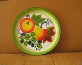 VIntage Enamelware Tray Large Round Enamelware Platter with Tomatoes