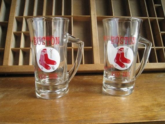 Vintage Boston Red Sox Glasses 1960s Baseball Beer Mugs