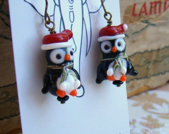 Christmas Penguin Earrings with Santa Hats Lampwork Glass Hypoallergenic Holiday Jewelry Gift Idea