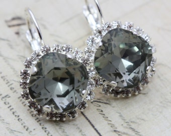 Black Diamond Earrings Gray Earrings Octagon Grey Swarovski Crystal Earrings Bridal Earrings Bridesmaid Earring Silver Also Avail As Clip On