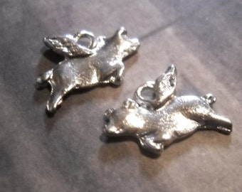 Flying Pig Charms-Pig Charms-Antiqued Silver-Pig-25pcs When Pigs Fly