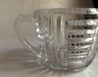 vintage Glass SUGAR BOWL with handles