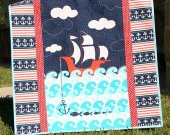SALE Nautical Baby Quilt Ship Sea Ocean Boy Crib Blanket Ahoy Matey Bunting Flags Red Aqua Navy Nursery Bedding Handmade Blanket