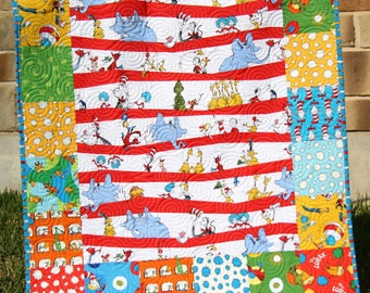 Dr Seuss Quilt, Bright Lorax, Baby Boy or Girl, Nursery Bedding, Kids Child Youth, The Grinch, Cat in the Hat, Gender Neutral