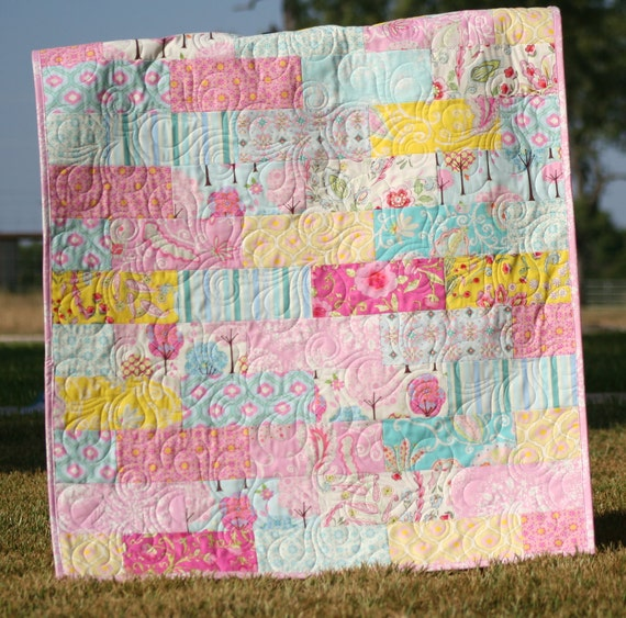 Reserved for Samantha Baby Girl Quilt Pretty Little Things Pink Aqua Yellow Nursery Bedding MADE TO ORDER