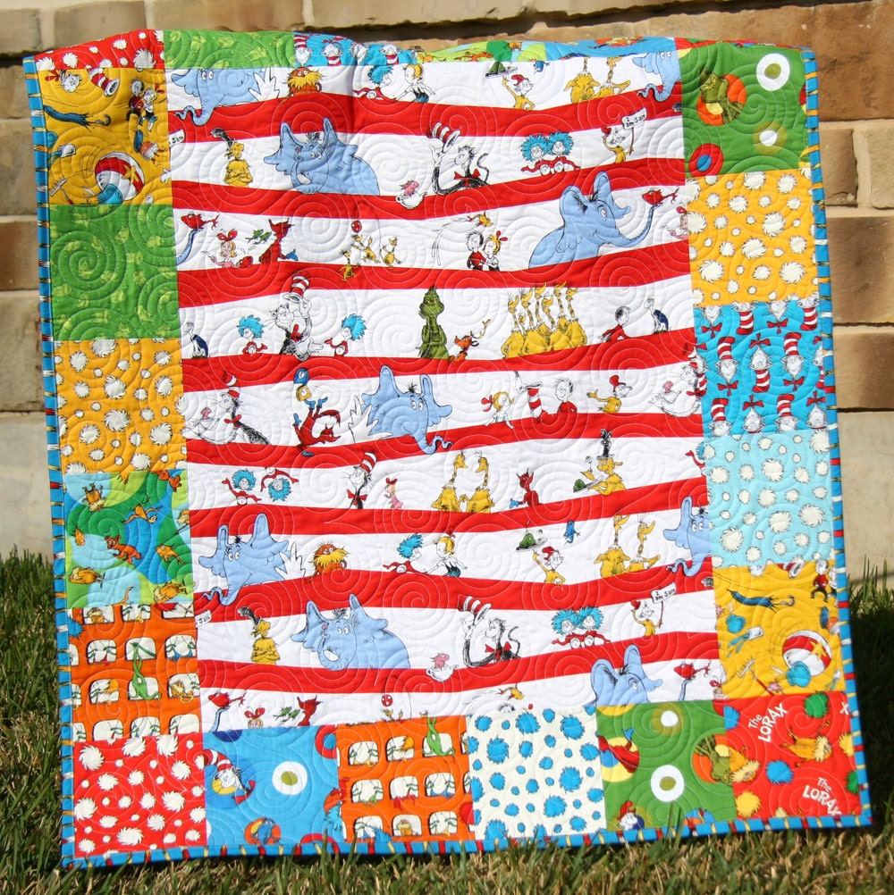 Dr seuss quilt bright lorax baby boy or girl by sunnysidedesigns2