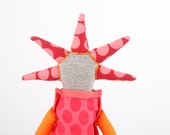 Modern fabric rag doll in Light Grey , Flowery , Polka Dots pink, red , orange & Burgundy funky eco handmade doll With cool Spikes Haircut
