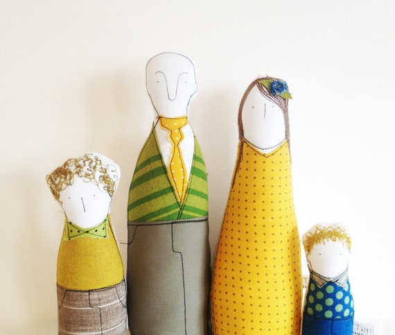 Reserved for Maren- Private order - Family Portrait - Parents and two sons soft sculpture  - by timo handmade