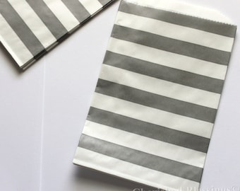 20 Grey Favors Bags, Favor Bags, Gray Rugby Striped Wedding bags, Baby Shower Favors, Birthday Party Favors, Gift Bags, Paper Goods