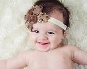 Baby headband, newborn headband, adult headband, vintage headband, chiffon and photography prop NEW BEST SELLER Three Rosie chiffon headban