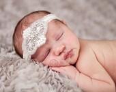 Vintage headband, Baby headband, newborn headband, Baptism, adult headband, garter wedding belt, photo prop Rhinestones and pearls headband