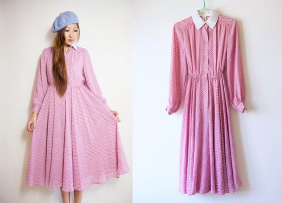 WoozWass Vintage Japanese 1970s Baby Pink Chiffon Long Dress with polka Dots Sz M