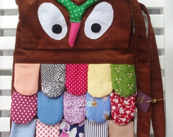 Patchwork owl crossbody bag