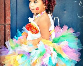Rainbow Clown Petti Tutu SEWN SUPER FULL 12 months to 4t
