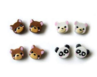 Polymer Clay Animal Earrings - Bear Series - brown bear / polar bear / panda / grizzly