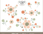 Flower Bouquet clip art, clipart , wedding invite, scrapbooking, DIY invitation