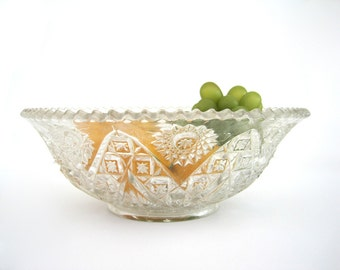 Vintage Cut Glass Serving Bowl Saw Tooth Rim Stars Wheat Cottage Chic Wedding Decor