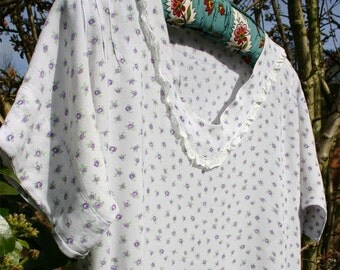 Pretty Dress or Nightgown from Vintage 1930s fabric Sprigged Floral