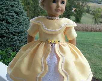 "Buttercup- PDF Sewing Pattern  for American Girl ® Marie Grace, Cecile, Caroline or other 18"" Dolls"